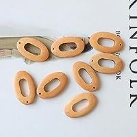 50個/バッチカラー印刷幾何学的な楕円形の木製ビーズDIYイヤリング/衣類アクセサリー-1