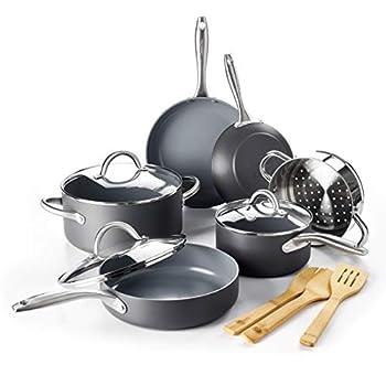 GreenPan Lima Healthy Ceramic Nonstick Cookware Pots and Pans Set 12 Piece Gray