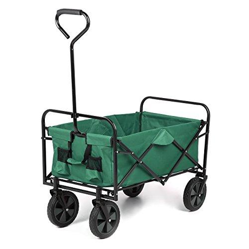 Sekey Faltbarer Bollerwagen Handwagen Faltwagen Gartenwagen 360° Drehbar für Alle Gelände Geeignet Outdoor Gerätewagen Transportwagen bis 80kg, Grün