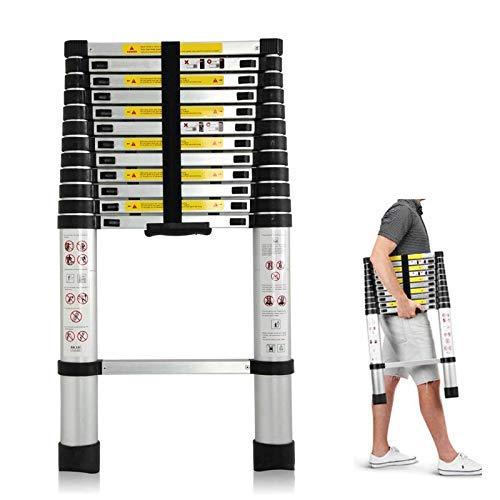 Bowoshen Telescoping Ladder 12.5ft Aluminum Telescopic Extension Multi Purpose Steps Non-Slip 330 lbs Capacity for Indoor Outdoor Work