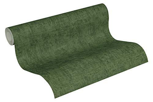 A.S. Création Vliestapete Greenery Tapete Uni Vintage Optik 10,05 m x 0,53 m grün Made in Germany 373347 37334-7