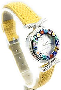 Antica Murrina Veneciana - Reloj de mujer con correa de piel y cristal de Murano ocre
