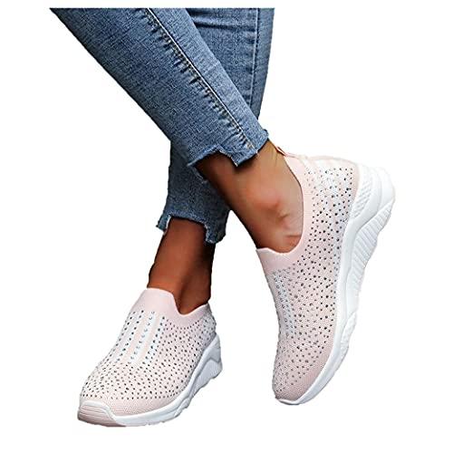 Soolike Zapatos de Running,Sneakers Ligeras,Zapatillas Mujer Casual Deportivas Caminar para Mujer Slip on Calzado,Zapatillas de Verano Transpirables de Malla con Tacón de Cuña, Adorno de Lunares.