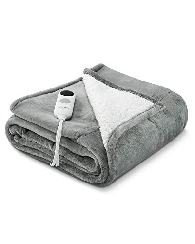 """MaxKare Electric Blanket Heated Throw Flannel & Sherpa Reversible Fast Heating Blanket 50"""" x 60"""", ETL Certification with 6 Heating Levels & 8 Hours Auto Off, Home Office Use & Machine Washable"""
