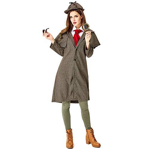 YZstore Sherlock Holmes Kostüm für Erwachsene,Detektiv Kostüm Damen Detektivkostüm Dedektivkostüm Mantel