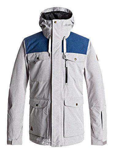 Quiksilver Snow Men's Raft Snow Jacket, Grey Heather, XL
