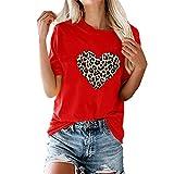 Mujeres Tops con Estampado de Leopardo Manga Corta Cuello Redondo Camisa básica Casual con gráfico de Verano Camisetas de Manga Corta Estampado de Leopardo de corazón Redondo Camiseta de Manga Corta