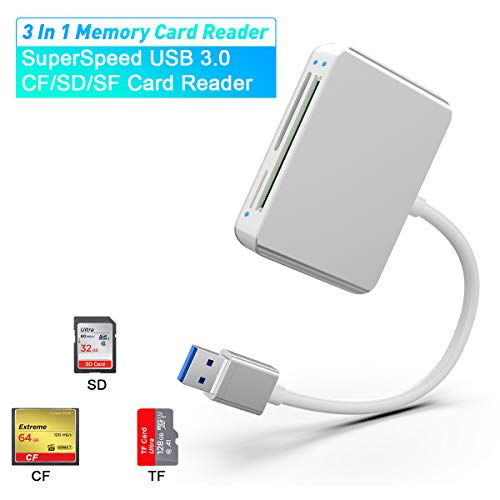 SD Card Reader, Rocketek 3-in-1 USB 3.0 Multi-Card Reader for CF/SD/TF/SDXC/SCHC/MMC/MMC Micro Camera Memory Card High-Speed Memory Card Adapter Plug and Play Compatible with Mac OS and Windows