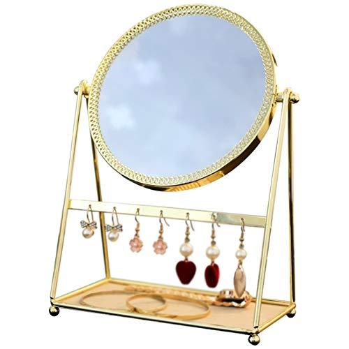 Espejos de afeitado para hombres HD maquillaje espejo del baño espejo del metal de escritorio joyas caja del sostenedor del hogar retro cosmética Dresser espejo de la belleza Hotel, baño