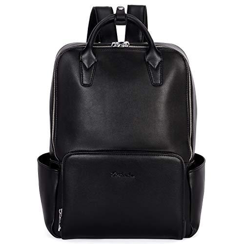 BOSTANTEN Laptop Backpack for Women 15.6 inch Computer Genuine Leather Backpack Purses College Travel Daypack Large Satchel Black