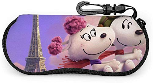 Snoopy und Fifi in der Paris Brillenetui Sonnenbrille Soft Case Neopren Portable Travel Zipper Hook