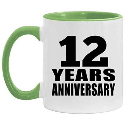 12th Anniversary 12 Years - 11oz Accent Mug Green Kaffeebecher 325ml Grün Keramik-Teetasse - Geschenk zum Geburtstag Jahrestag Weihnachten Valentinstag