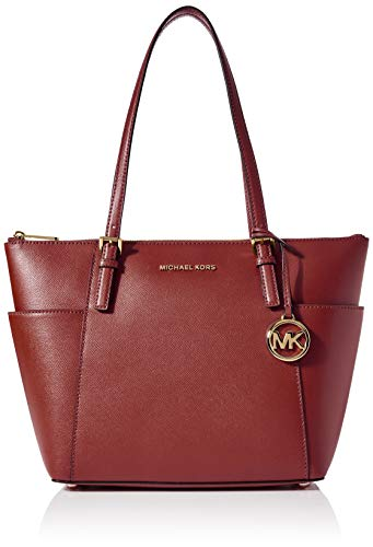 """Saffiano leather with gold-tone hardware Two Exterior Side Pockets, Interior Zip Pocket, Interior Cell Phone Pocket, Three Interior Pouch Pockets, Keyfob Measures 15 X 10 X 4.5"""" Two Top Handles Zipper closure; Polyester lining"""