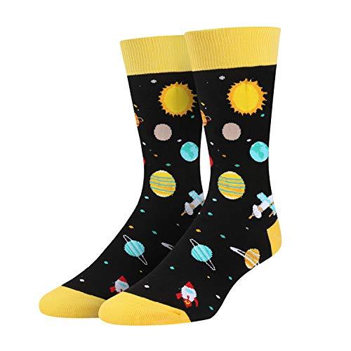 Men's Space Planet Solar System Socks, Novelty Gift for Astronomy...