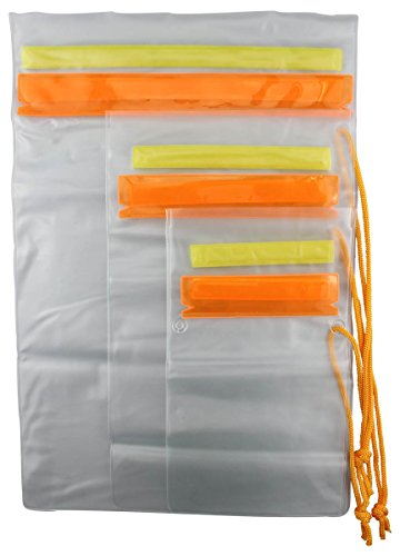 SE Set of 3 Waterproof Plastic Pouches with Hook and Loop Closure - TP126-3