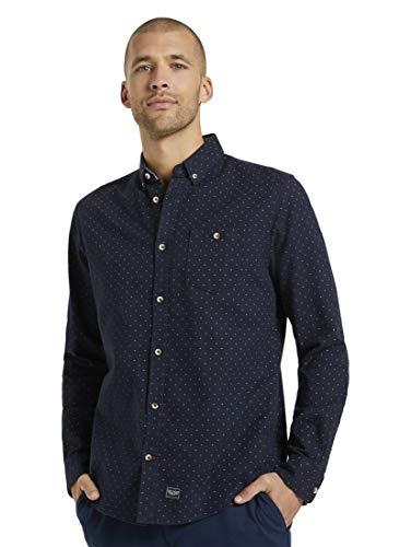 TOM TAILOR Herren Blusen, Shirts & Hemden Fein gemustertes Hemd Navy Base Scattered Design,M,25326,6000