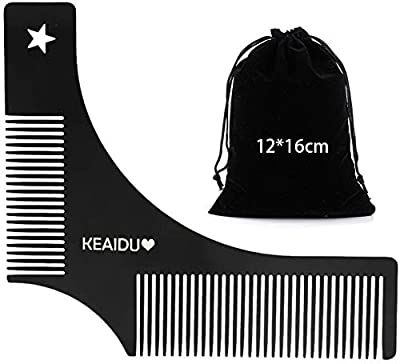Beard Styling Template - Stencil for Men - Beard Shaping Tool Styling Comb for Perfect Line Up & Edging, Men's Facial Hair Trimming Guide Grooming Shaper for Men, Jaw/Cheek/Neck Line