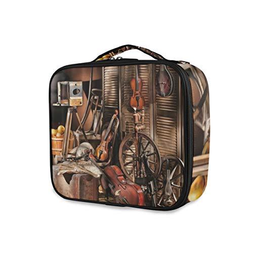 SUGARHE Thème de la Musique Occidentale Vintage Rustique Hangar Mur en Bois Guitare accordéon Vieux moyeu de Roue,Portable Fourre-Tout Trousse de Toilette pour Voyage Sac à Main
