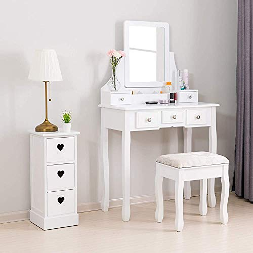 Dormitorio moderno con tocador y espejo lateral heces niñas de tocador tocador,White-5 drawers