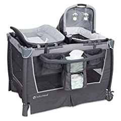 Removable Rock-A-Bye Bassinet with a canopy and carry handle Plush fabric lining and large wheels for convenient moving Two toys to entertain baby and deluxe parent organizer Large changer and removable bassinet Electronic music and night light Manuf...