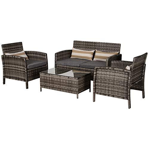 Outsunny Outdoor-Sitzgarnitur, 4-teilige Sitzgruppe, Gartenmöbelset mit Couchtisch, Stahl, Rattan, Grau, 118 x 68 x 78 cm