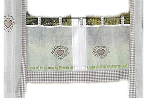 tischdecken-iris-shop GARDINEN Hossner Scheibengardine 45x120 cm Landhaus Kariert Applikation Stickerei Herz - Atelier-Qualität (Panneaux 45x120 cm)
