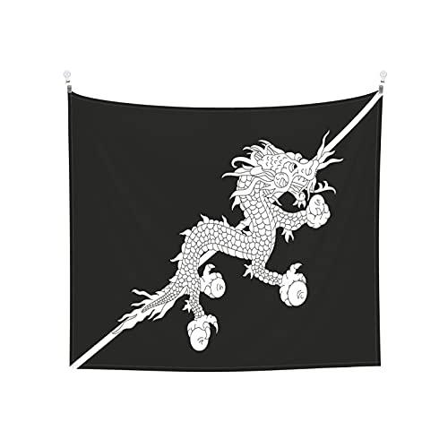 Bhutan-Flagge, Wandbehang, Tarot-Boho, beliebt, mystisch, Trippy Yoga, Hippie, Wandteppiche für Wohnzimmer, Schlafzimmer, Wohnheim, Heimdekoration, schwarz & weiß Stranddecke