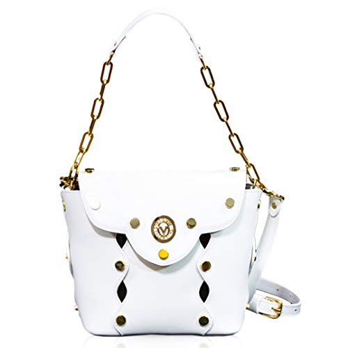 Valentino Orlandi Women's Small Handbag Tote Italian Designer Purse Alabaster White Genuine Leather Top Handle Satchel Crossbody Messenger Bucket Bag in Laser Cutout Design with Studs