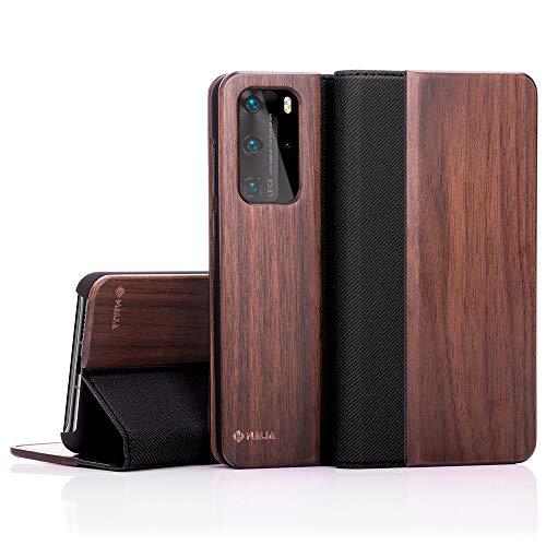 NALIA Echt-Holz Flipcase kompatibel mit Huawei P40 Pro Hülle, Premium Wood Etui Handyhülle mit Klappe, Handy-Tasche Phone Hülle Cover Schutzhülle Flipcover Klapphülle, R&um Schutz Bumper - Walnuss