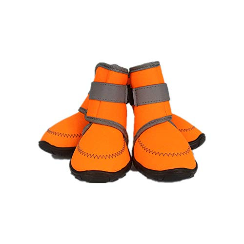 U/K Uwoll Dog Booties Shoes for hot Pavement Dogs paw Protection Puppy Winter Hiking Boots Soft Waterproof Anti-Slip Sole Protector 4Pcs (Medium)