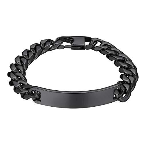 GoldChic Jewelry ID Bracelet - Personalizable Pulsera de Cadena Cubano de artesanía Corte de Diamante Regalo Navidad Cumpleaños San Valentín Fiesta