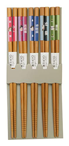 TOKYO design studio ESS-Stäbchen aus Holz, 5-er Set, Bunte, fröhliche Muster, 22,5 cm lang, inkl. Geschenke-Box