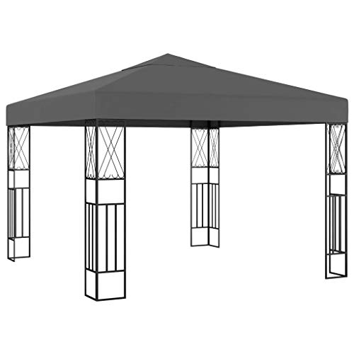 Lechnical Pavilion garden pavilion waterproof UV protection garden tent sun protection for garden market camping weddings metal struts 3 × 3 m anthracite fabric