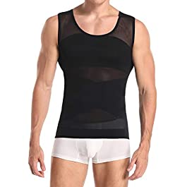 Derssity Men's Compression Vest Top Belly Slimming Body Shaper Undershirt to Hide Man Boobs