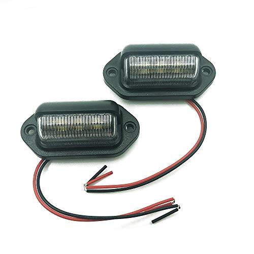 Luz de matrícula, lámpara de luz LED para matrícula, 12 V, 6 luces LED, lámpara de cortesía, luz trasera universal para coches, camiones, remolques, motocicletas, barcos, 2 unidades