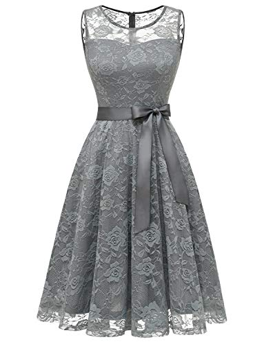 Dressystar 0009 Floral Lace Dress Short Bridesmaid Dresses with Sheer Neckline Grey XXL