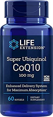 Life Extension Europe Super Ubiquinol CoQ10 Soft Gels, 100 mg, 60-Count