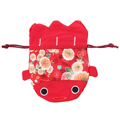 TOYANDONA Weihnachtsbonbonbeutel Japanischer Chirimen Kimono Druck Goldfisch Kordelzug Beutel Hochzeitsgeschenkbeutel Rot