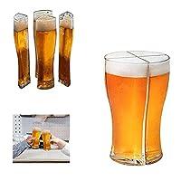QIUXQIU 4イン1 クリエイティブビールマグセット スーパースクーナー ビールグラス 一度に4つのビールグラスを持ち運べるデザイン 簡単アクリルビールジョッキグラス 自宅 バー パーティー用
