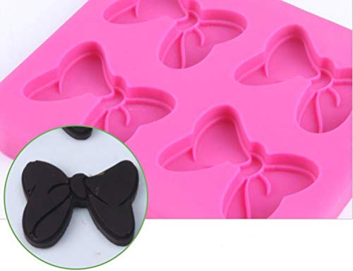 4-Hole 1 PC Mouse Bows Cartoon Butterfly Tie Silicone Mold Tools for Make Chocolates Hard Candies Dessert Ice Cube Candle Cake Baking Fondant