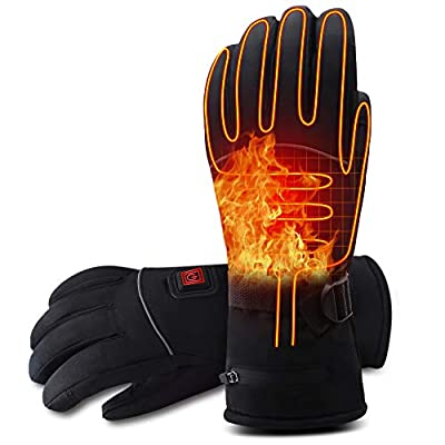 Rabbitroom Winter Electric Heated Gloves with Rechargeable Li-ion Battery, Waterproof Insulated Heating Driving Gloves, Thermal Arthritic Gloves for Men and Women