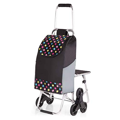 ZGYQGOO Seat Cart Reisetasche DREI in einem Multifunktionsreisewagen Shopping Travel Folding Push Pull Grocery Utility Cart