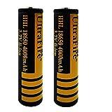 18650 Batería recargable de iones de litio 3,7 V 4000 mAh gran capacidad Respetuoso con el medio ambiente Conveniente para linterna LED, dispositivos electrónicos, etc. 2 piezas (amarillo + negro)
