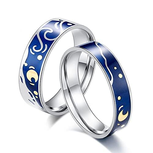 Aotiwe Anillos Pareja Azul Plateado Anillo Patrón de Cielo Estrellado de Pintura Al Óleo, Acero Inoxidable Anillos Mujer 20 & Hombre 17