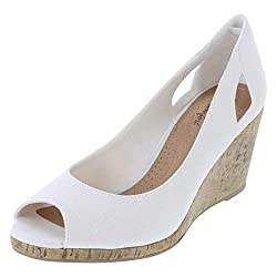 in budget affordable Dexflex Comfort Women White CAI Canvas Wedge 13 Regular