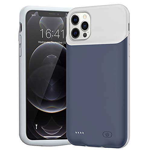 Battery Case for iPhone 12 Pro Max, 7000mAh Slim Portable Protective Charging case Compatible with iPhone 12 Pro Max (6.7 inch) Rechargeable Battery Pack Charger Case (Blue)
