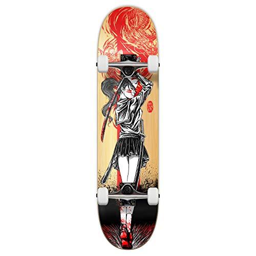 Yocaher Girl Samurai Red Dragon Complete 7.75' Skateboard w/7Ply Maple Deck, Black Widow Premium Grip Tape, Aluminum Alloy Truck, ABEC-7 Chrome Bearing (Complete 7.75' Girl Samurai Red Dragon)