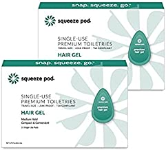 Squeeze Pod Travel Hair Gel - 30 Single Use Pods – Medium Hold, Leak Proof, TSA Approved Travel Size Styling Gel made with Natural Ingredients - Best for Airline Traveling, A Night Out & Gym Bags HG7