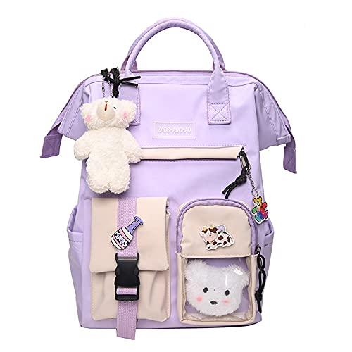 Wangjia Kawaii sac à dos petit ours en peluche poupée sac à dos mode japonais mignon ours pendentif décoration sac d'école accessoires pour étudiant