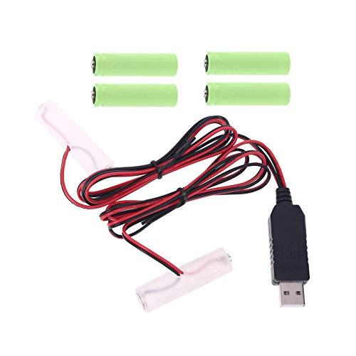 Adaptador de fuente de alimentación, 4,5 V AA AAA batería cable de fuente de alimentación USB puede reemplazar 3 pilas AA AAA de 1,5 V